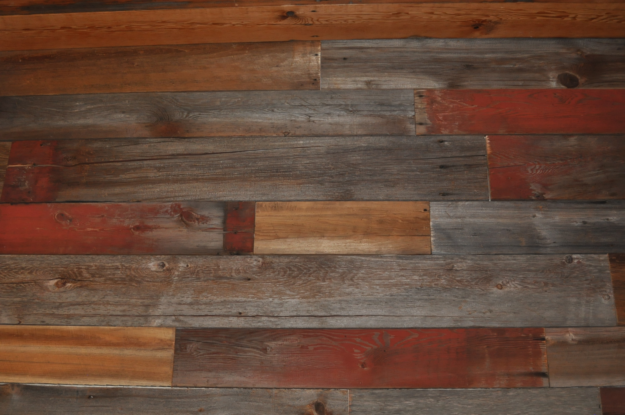 Reclaimed barn wood wall for Recycled hardwood