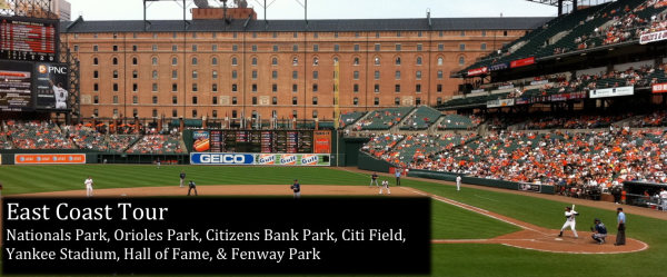 East Coast Tour: Nationals Park, Orioles Park, Citizens Bank Park, Yankee Stadium, Citi Field, Hall of Fame, Fenway Park
