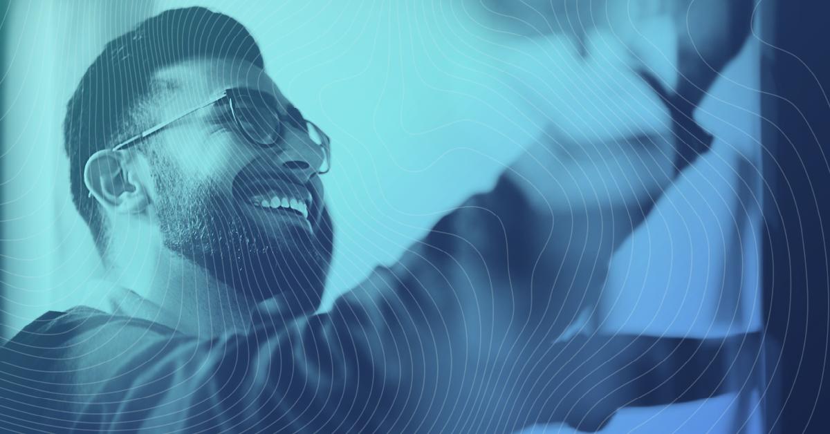 happy bearded man doing work