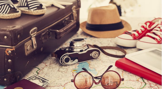 stock image of travel items