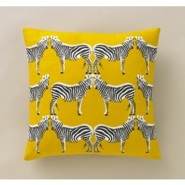 Zebra and yellow accent pillow