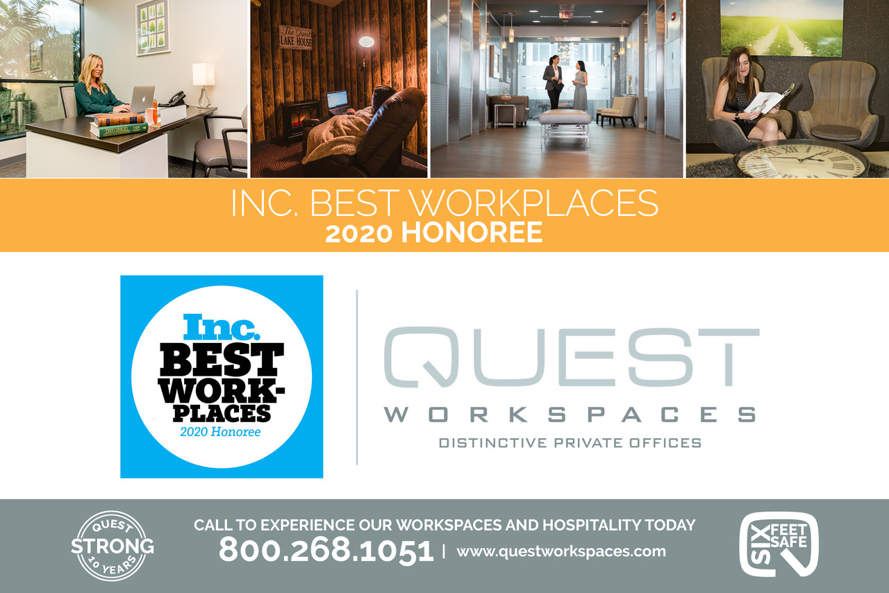 Quest Workspaces Recognized in the Inc. Best Workplaces 2020 List