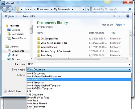 Save an Office 2010 file as an older version