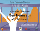 Ben Heimsath - Volunteer of the Year Metz Elementary