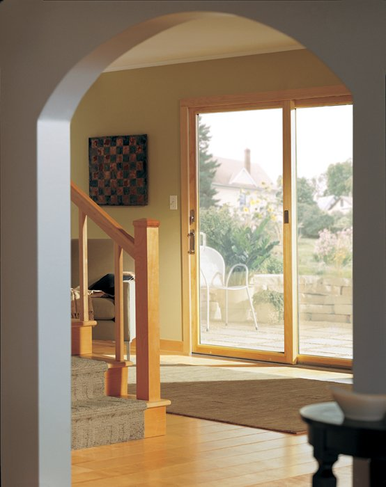 200 Series Narroline Gliding Patio Door, Metro Hardware Collection, Anvers  Design Bright Brass Finish