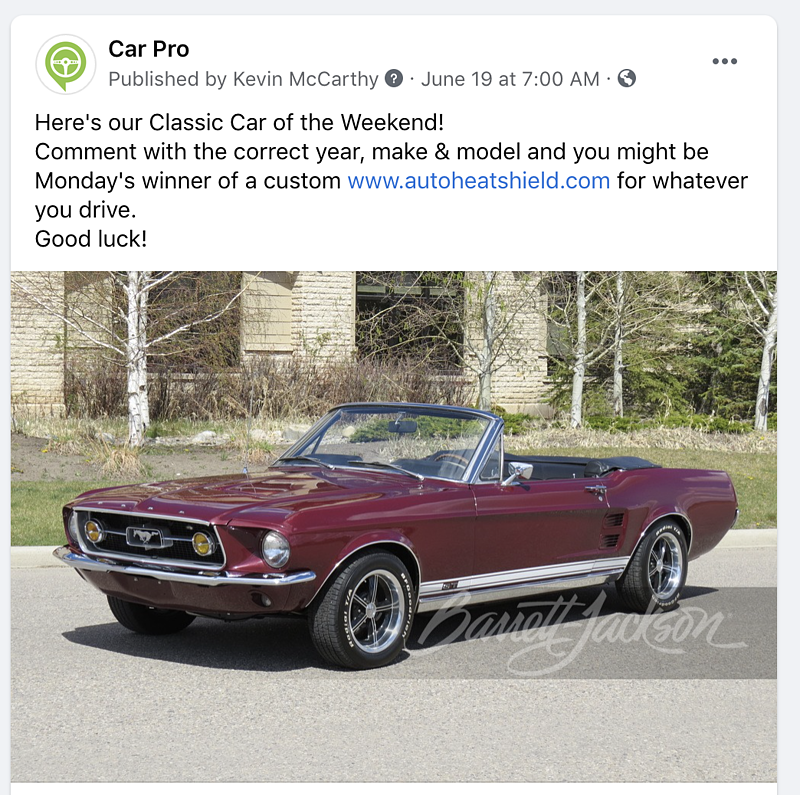 How to Enter Our Weekly Facebook Classic Car Contest