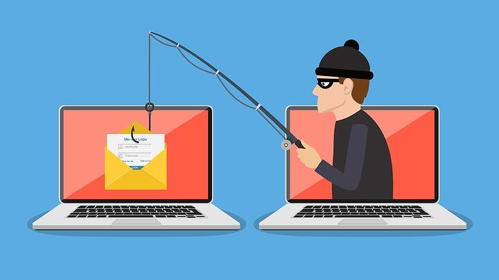 Cartoon image of man internet phishing