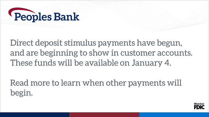 Peoples Bank image on stimulus payments