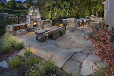 landscape design fireplace patio ashburn aldie leesburg