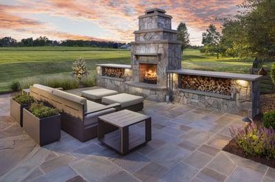 landscape design patio fireplace