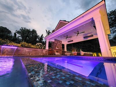 pool pavlion hot tub