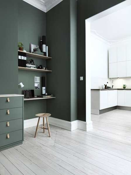 green hue with oak furniture