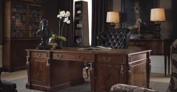 gentleman's study desk is the centerpiece