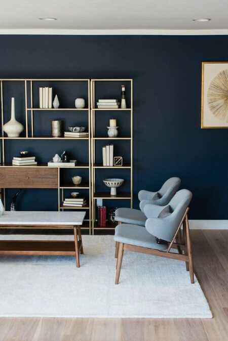 blue tones with oak furniture