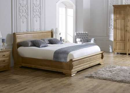 revival sleigh bed oak