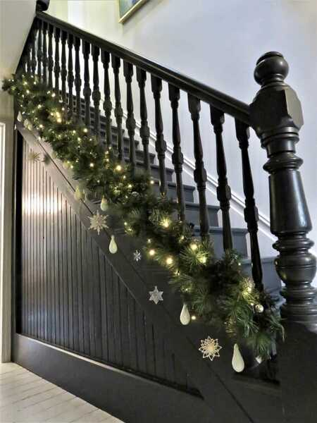 christmas decorated bannister