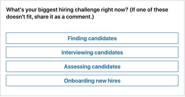 LinkedIn pulse poll on hiring challenges