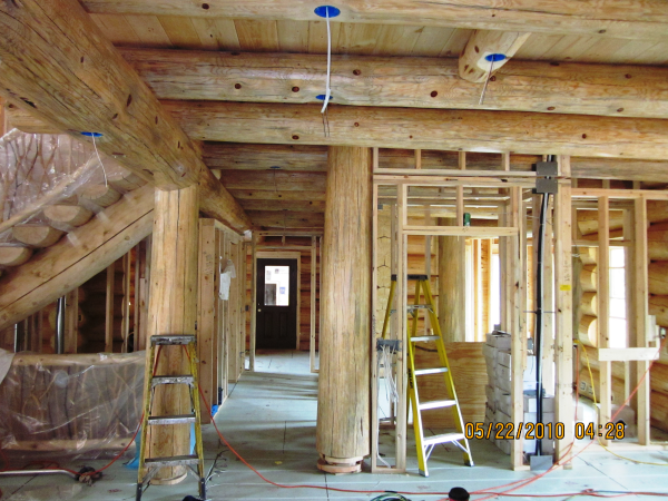 Interior of a Frontier Log Home finished by Intensified Wood Restoration