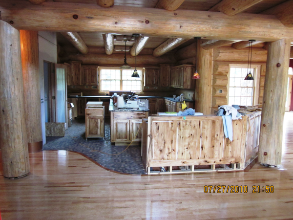 finished log home interior