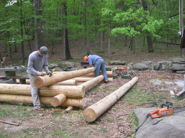 Pre-building replacement log walls