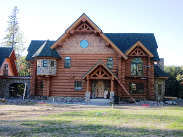 New Log Home Finishing done by Intensified Wood Restoration