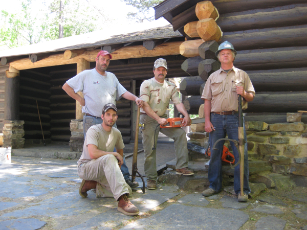 Picture of log replacement crew