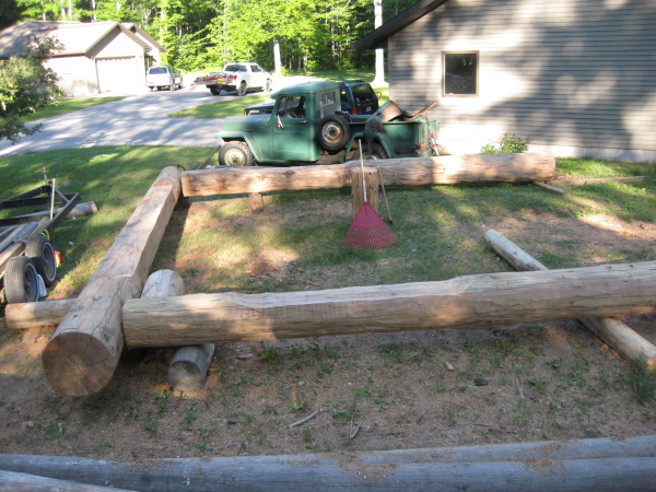 Building a log archway out of western red cedar