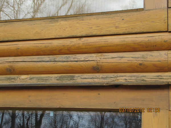 Failed log home stain