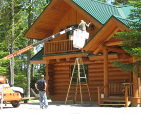 Log Home Restoration - Sealants:  Good sealants for log structures are either chinking or caulking. This all depends on what type of look you are going for though. These sealants are usually applied one of two ways:  Professional Grade or Contractor Grade