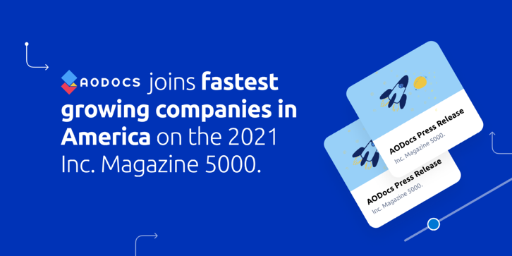 AODocs joins fastest growing companies in America on the 2021 Inc. Magazine 5000.