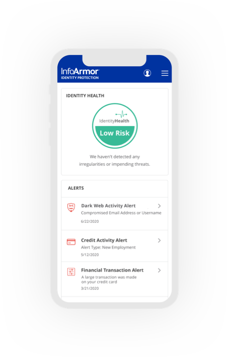 InfoArmor Identity Protection dashboard on a mobile device