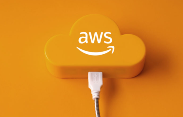 an orange background with orange cloud and AWS logo, featuring a usb plugged into the 3d cloud with Aws on it.