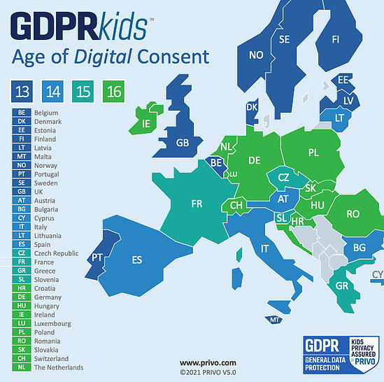 PRIVO GDPR Age of Consent Map