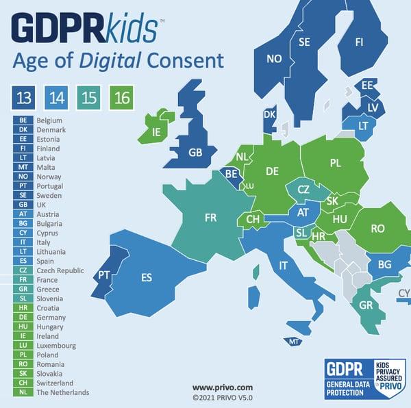 PRIVO's GDPR Age of Consent Map