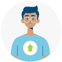 Illustration of a man wearing glasses