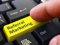 Referral Marketing Concept. Person Click on Yellow Keyboard Button. Selective Focus. Closeup View.-1
