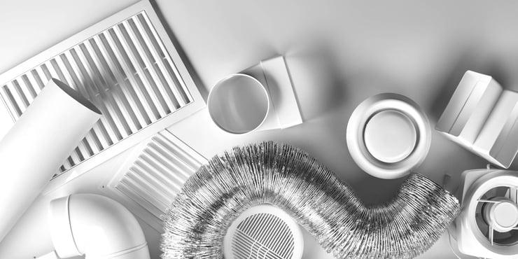 HVAC products flatflay
