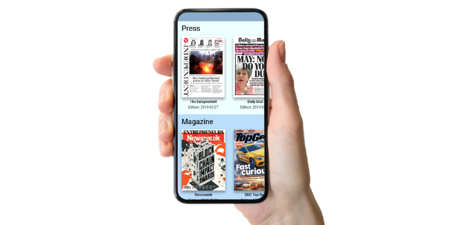 Image shows a hand holding a smartphone. The display ont he smartphone shows the SPARK® Media: Print screen with newspapers and magazines available to read.