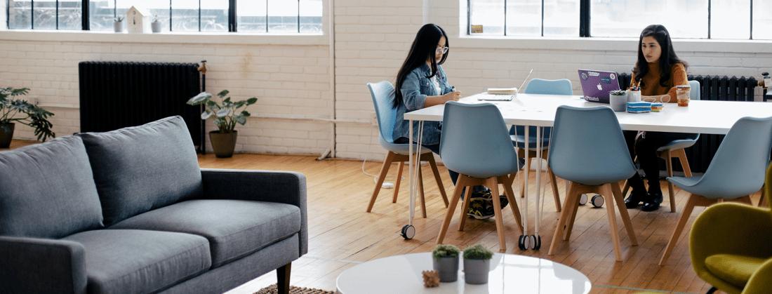 two women working in modern workplace