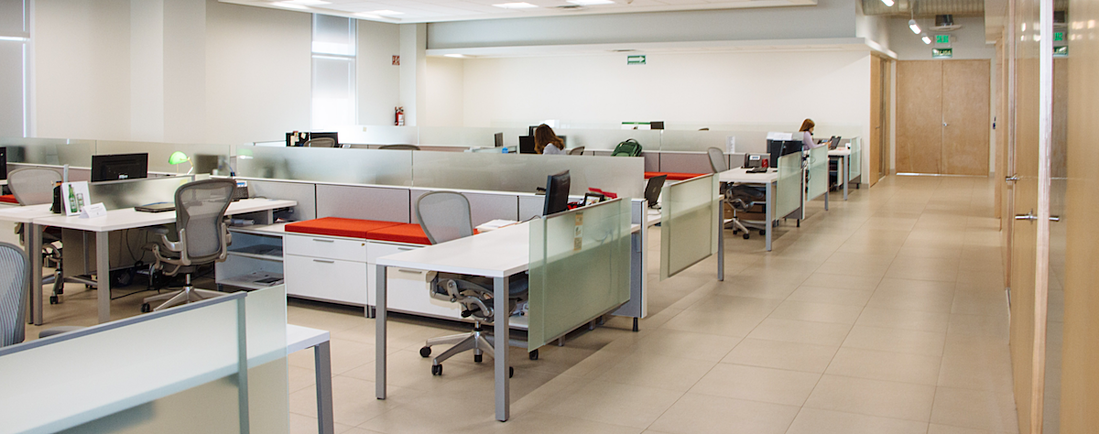 modern office building cubicles