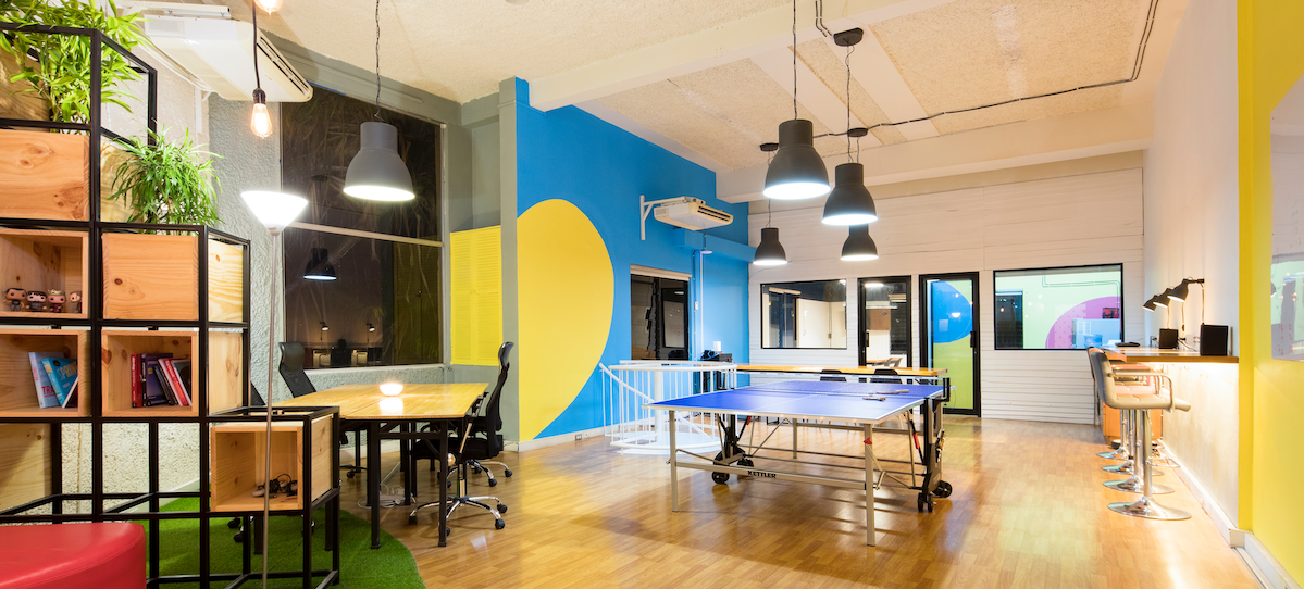 modern colorful office ping pong