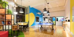 modern workplace office colorful ping pong
