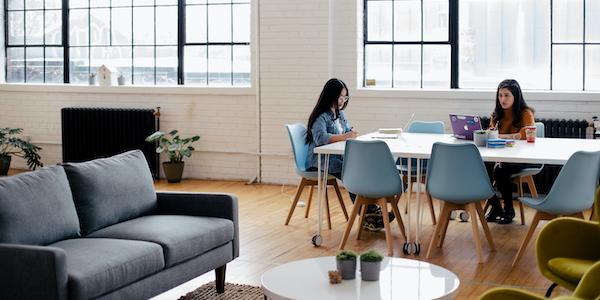 two women working in modern office