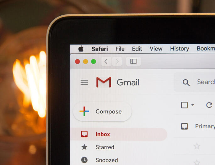 Gmail inbox on a tablet screen