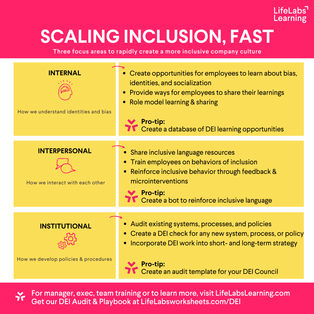 LifeLabs Learning chart on reducing bias and scaling inclusion