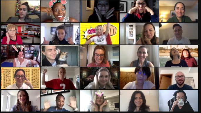screen shot of a Zoom meeting with multiple squares/people in the photo