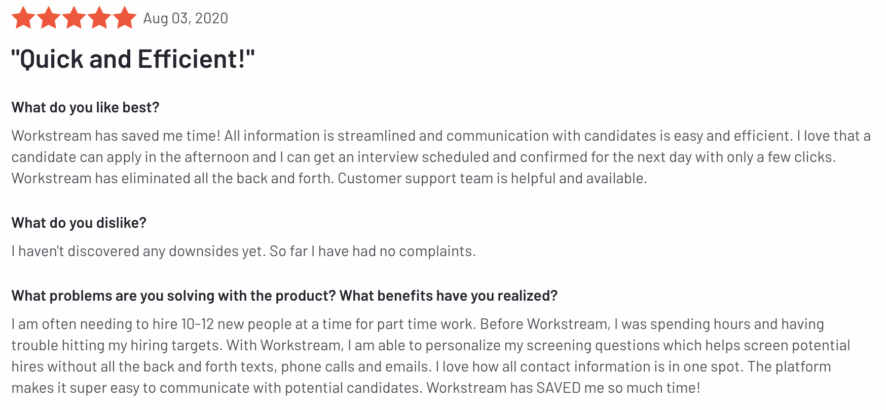 Workstream 5 Star Review for Applicant Tracking System on G2