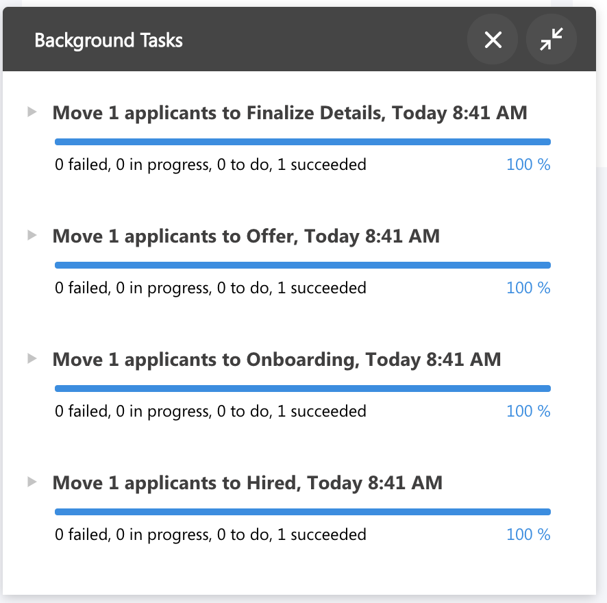Workstream's applicant tracking system background tasks capabilities