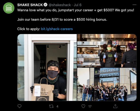 shake shack twitter post