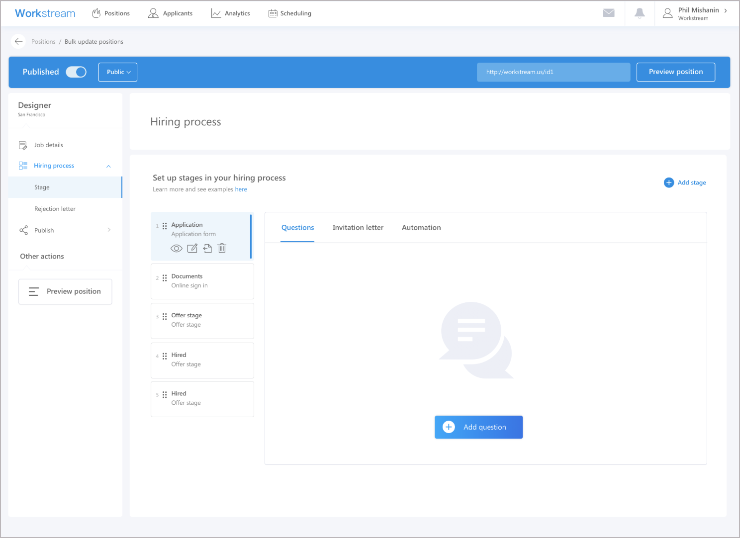 Workstream applicant tracking system customizable hiring stages